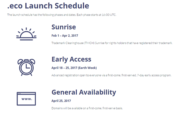 .eco launch phases. sunrise: feb 1st to april 2nd 2017